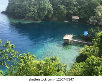 Top view of a bay in Ambon island, Indonesia