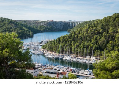 Top view of the bay with yachts and the bridge near the town of Skradin, Croatia