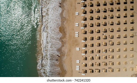 Top view of beach with straw umbrellas. Golden sands, Varna, Bulgaria