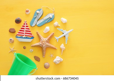 top view beach and vacation concept with nautical life style objects.