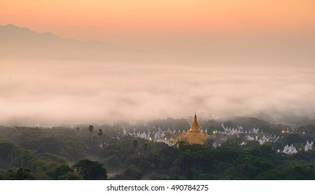 Top view in beautiful countryside in the morning at Mandalay hill in Myanmar