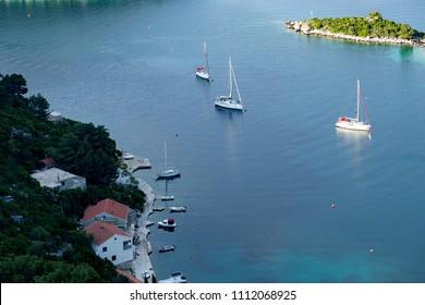 Top view at beautiful harbor in village Prozurska luka at island Mljet