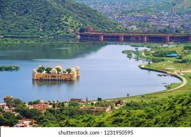 Top View of Beautiful Jaipur Jal Mahal Rajasthan,India
