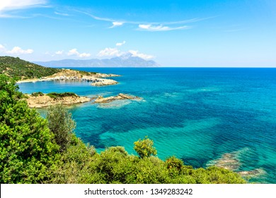 Top view of beautiful lagoon on Sithonia peninsula with view of Mount Athos. Chalkidiki, Greece.