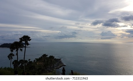 Top view of Beautiful Landscape and Tropical. Seascape, SeaView and Cape with blue sea, sky background and mountain and cape foreground wide angle. Viewpoint at blue sky in Phuket, South of Thailand.