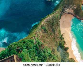 top view of the beautiful sea Bay and mountain ranges on the wonderful island of Bali