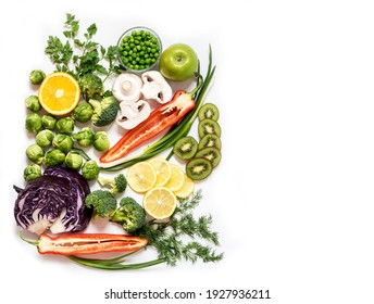 Top view of beautiful square food frame, flat lay of colorful healthy food for healthy diet