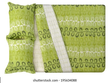 Top view of a bed isolated against white background.