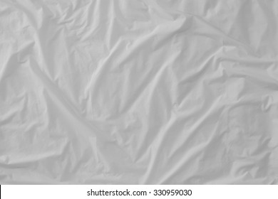 Top view of  bedding sheets crease (white fabric texture)
