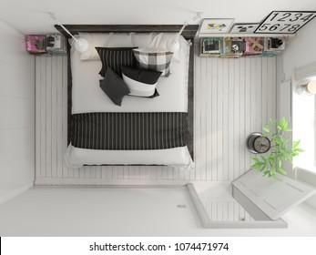 Top view Bedroom interior design 3D rendering