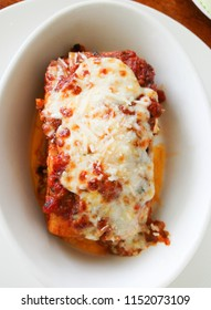 Top view beef Lasagna with melted cheese on top