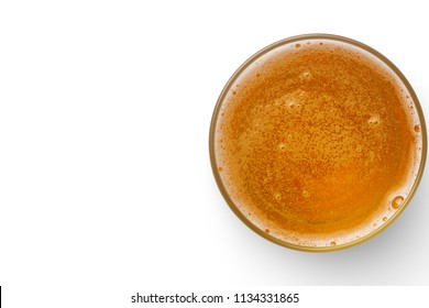 top view of beer bubbles in glass cup on white background. empty space for design.