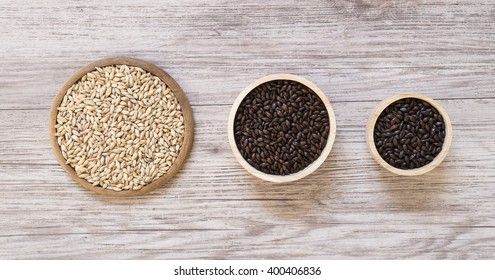Top view - Beer ingredients, Pale ale malt ,Chocolate malt and Roast malt  on wooden background
