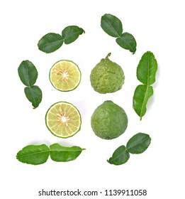 Top view of Bergamot fruit isolated on the white background.