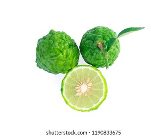 Top view bergamot fruit with leaf isolated on white background.
