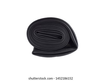 Top view of bicycle inner tube isolated on white background