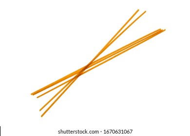 Top view of bigoli - extruded pasta in the form of a long and thick strand isolated on white