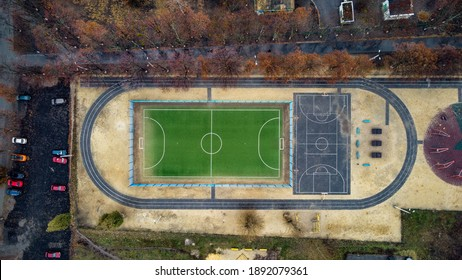 Top View, Bird eye view of school college with basketball and football soccer courts. Street sport
