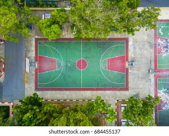 Top View, Bird eye view of school college with Basketball courts.