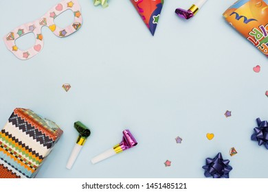 Top view of birthday elements