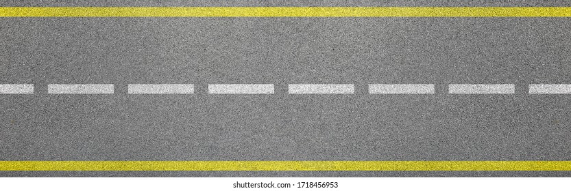 Top view of bitumen road with lanes and limits sign concept