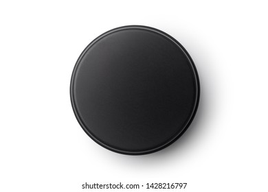 Top view of black aluminum jar isolated on white background. Container for cosmetic or food.