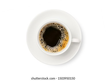 Top view of black coffee in white cup  isolated on white background. Cllipping path.