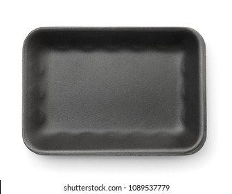 Top view of black empty foam food tray isolated on white