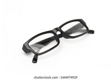 Top view of Black frame eyeglasses isolated on white background, Myopia (nearsightedness), Short sighted or presbyopia (Farsightedness) eyeglasses.