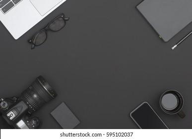 top view black office desk hero header