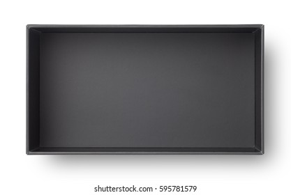 Top view of black paper box isolated on white background
