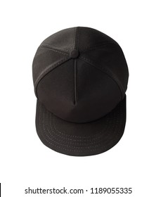 Top view of black snapback cap isolated on white background. Blank baseball cap or trucker hat