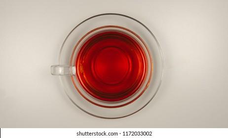 TOP VIEW: Black tea in a glass tea cup