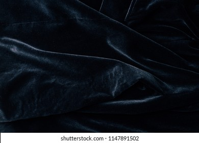 top view of black velvet textile as background
