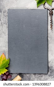 Top view of a blank chalk board for a wine list or menu with