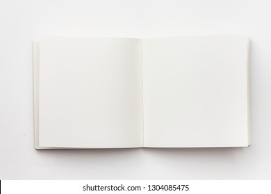 Top view of blank notebook on white background