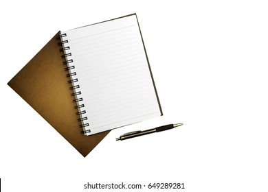 Top view blank notebook, pen on white desk background.with copy space.