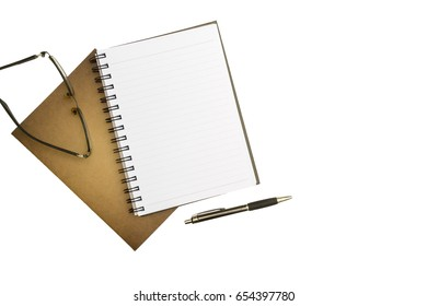 Top view blank notebook, pen and glasses on white desk background.with copy space.on isolated