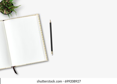 Top view of blank open notebook on wood background office desk and different objects. Minimal flat lay style