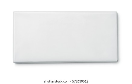 Top view of blank paper chocolate package isolated on white