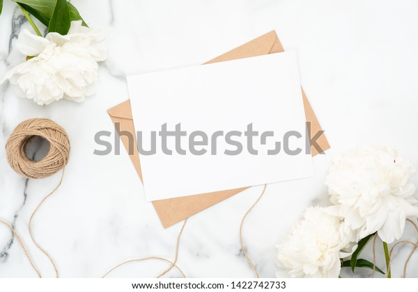 Top View Blank Wedding Invitation Card Stock Photo Edit Now