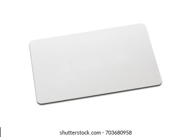 top view of blank white business card mockup with rounded corners on white background used - Blank Plastic Cards