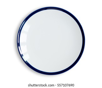 Top view of blank white dish isolated on a white background.