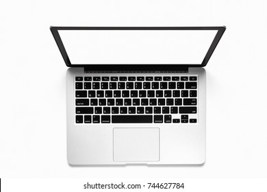 Top view, Blank white screen template for advanced laptop on a white background. Used for graphic products.