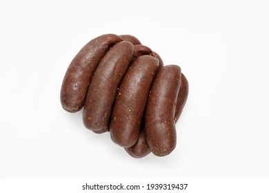 Top view of blood sausage, black pudding, isolated on a white background. Traditional meat sausage, a packshot photo for package design, template. Polish kaszanka, kiszka sausage.