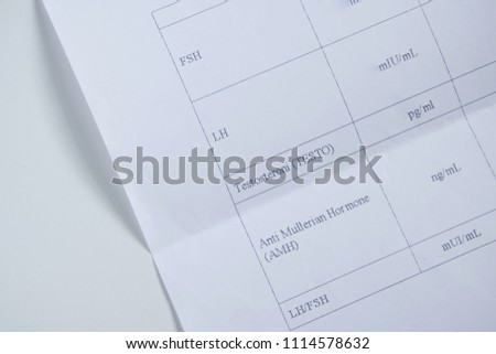 Top View Blood Tests List Female Stock Photo (Edit Now) 1114578632