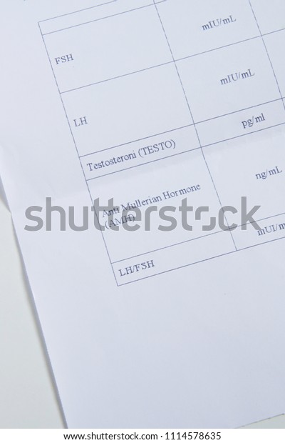 Top View Blood Tests List Female Stock Photo (Edit Now