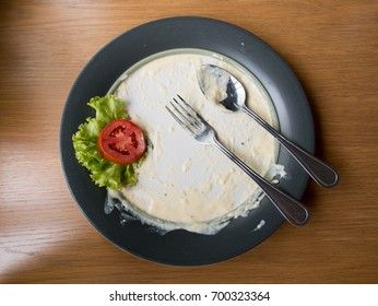 Top view of blue and dirty dish on the wooden table background
