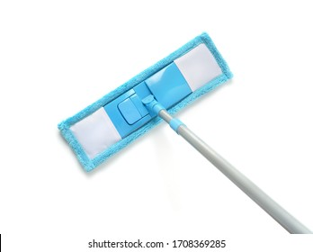 Top view of blue plastic mop isolated on white