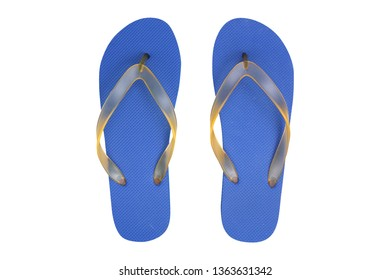 Top view blue rubber slippers on wooden background